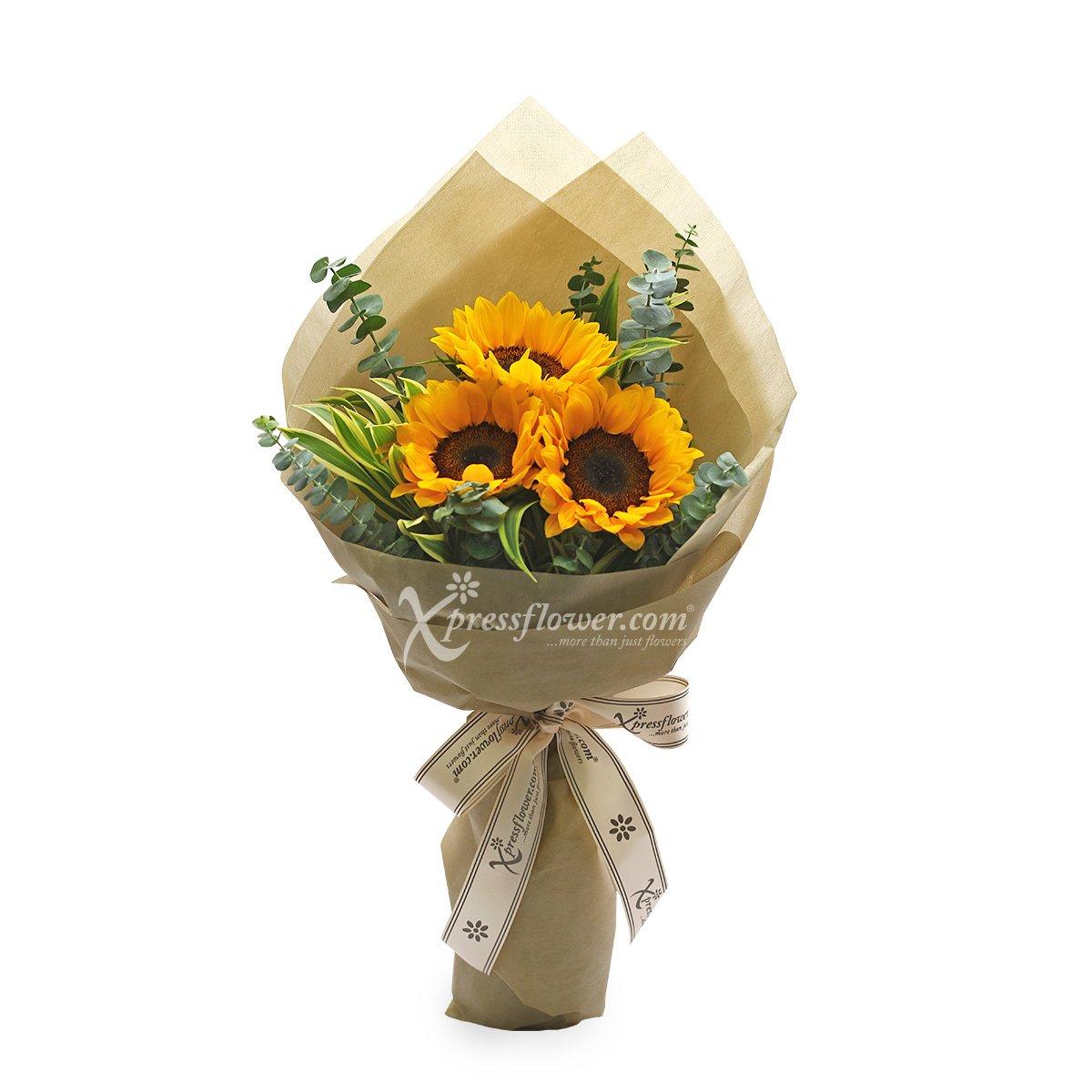 Jubilant Hearts (3 stalk Sunflowers)