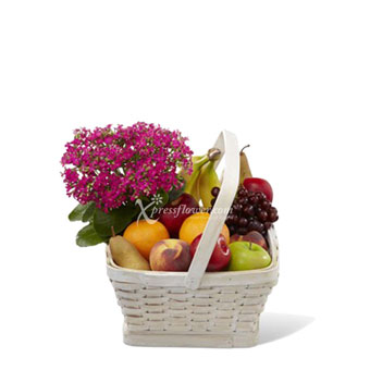 FRUIT BASKET WITH FLOWERS (US)