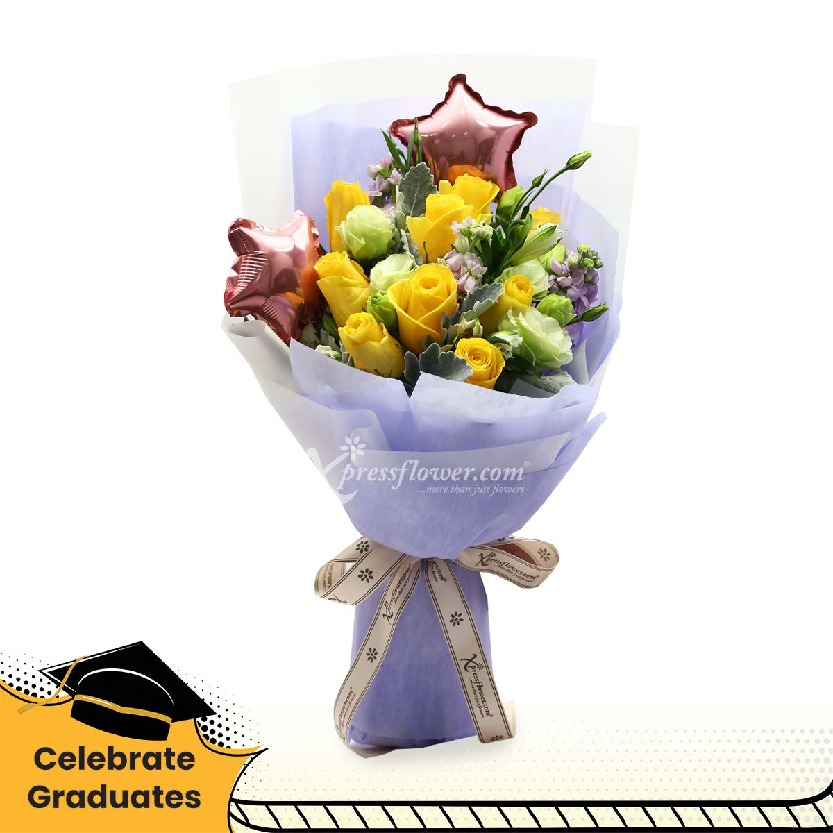 Shining Stars (9 yellow roses with star balloons)