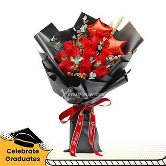 Bewitched (12 red roses with star balloons)