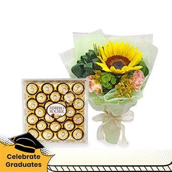Sweet Victory (1 sunflower with 24 Ferrero Rocher chocolates)