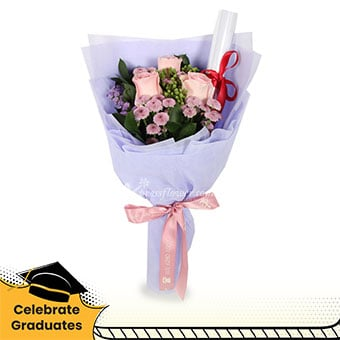 Passed! (3 pink roses with decorative scroll)