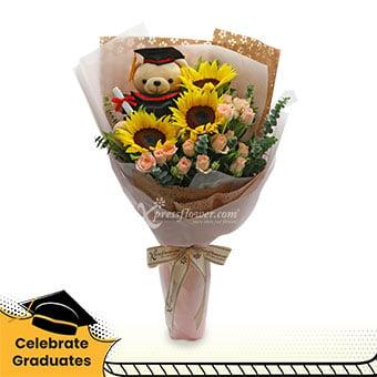 Extraordinary Fulfillment (3 sunflowers with 7'' Graduation bear)
