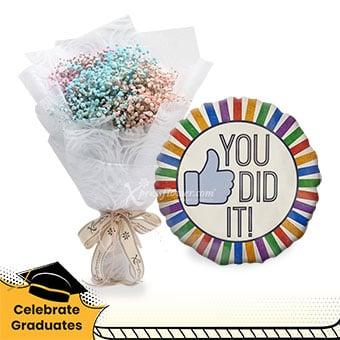 Exceptional Achievement (Pink, purple, blue million stars with helium balloon)