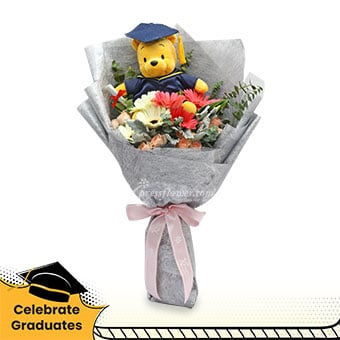 You Made It (3 pink & 3 white gerberas with Graduation Pooh bear)