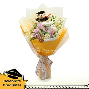 Rise to the occasion (Pink hydrangea with Graduation bear)
