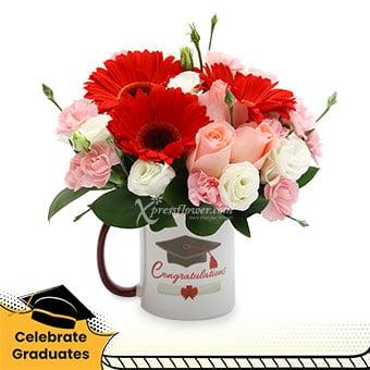 New Beginnings (3 pink roses & 3 red gerberas)