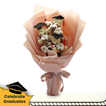 Beary Proud (Cotton flowers with 3 mini graduation bears)