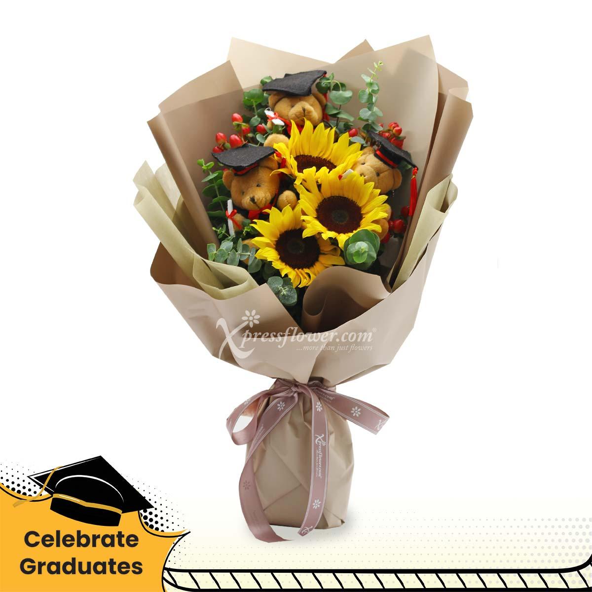 Victorious Applause (3 sunflowers & 3 mini graduation bears)