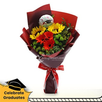 Warm Acclamations (2 sunflowers & 3 red gerberas with mini balloon)