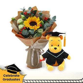 Sunshine & Cuddles (1 Sunflower with Winnie The Pooh graduation bear)