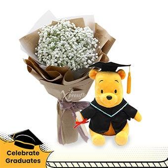 Our Star Graduate (Million Star Baby's Breath with Winnie The Pooh graduation bear)