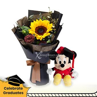 Future So Bright (1 Sunflower with Disney Graduation soft toy)