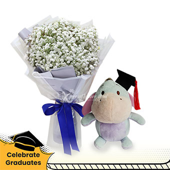 Our Shining Star (Million Star Baby's Breath with Disney Graduation soft toy)