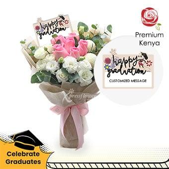 Cheerful Delight (6 dark pink roses Disney bouquet)