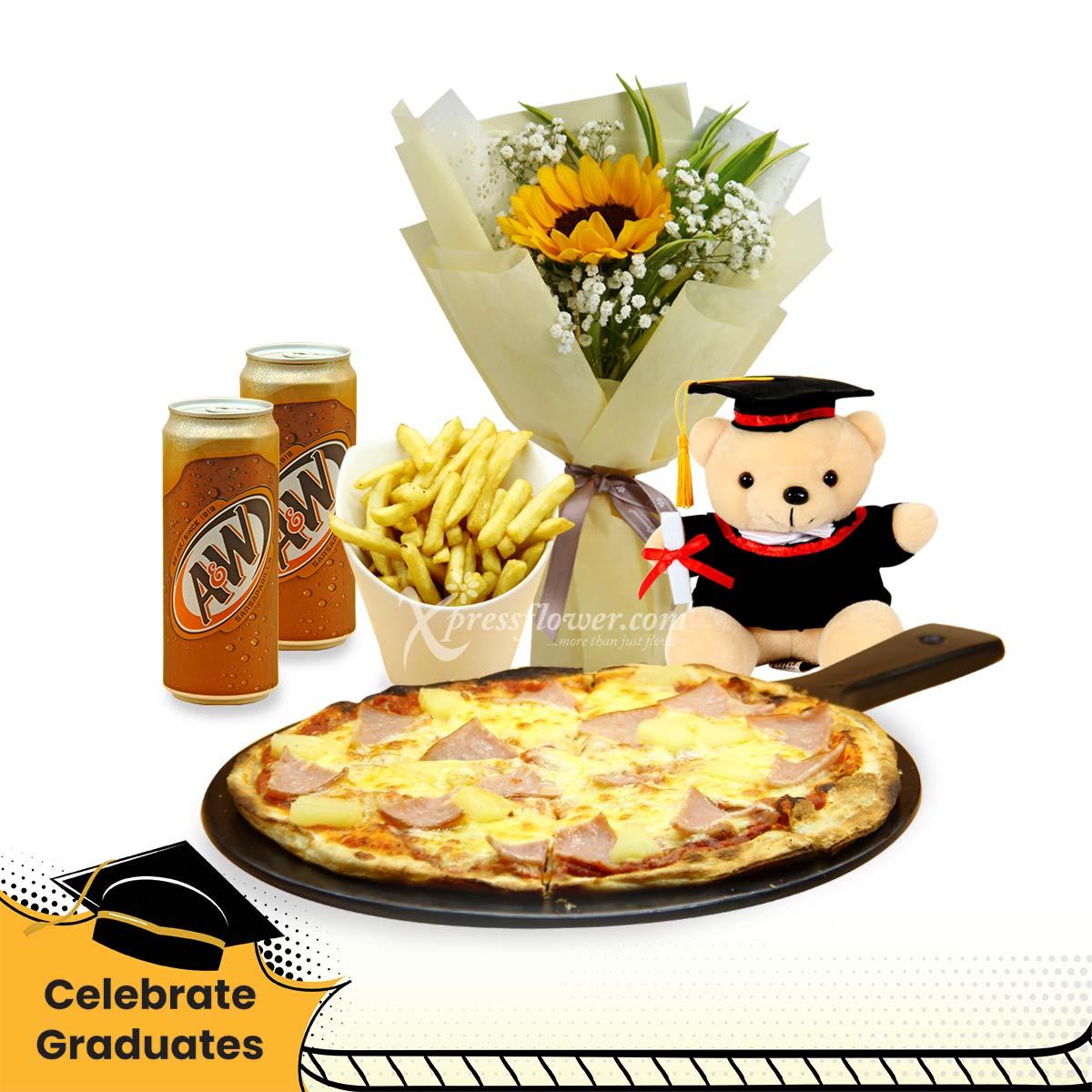 Worthy Celebration (1 sunflower bouquet, 7'' Graduation bear, and Knots pizza combo)