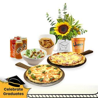Graduation Bash (1 sunflower arrangement, Udders ice cream, and Knots Cafe pizza combo)