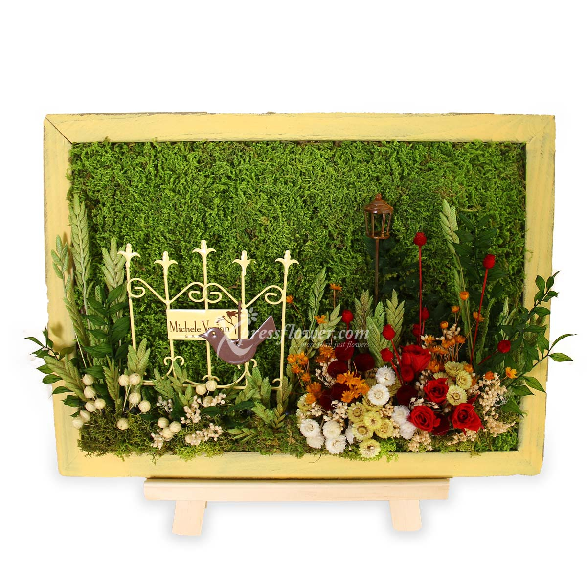 Morning Garden (Moss art with preserved flowers)