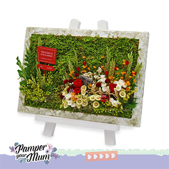Flowers Time (Moss art with preserved flowers)