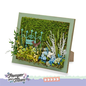 French Garden (Moss art with preserved flowers)
