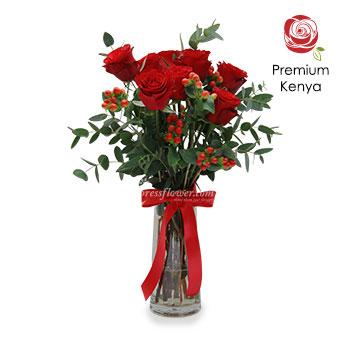 Blazing Heart (9 stalks of Premium Kenya Red Roses arrangement)