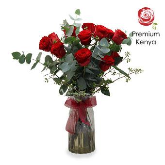 Smoldering Charm (12 stalks of Premium Kenya Red Roses arrangement)