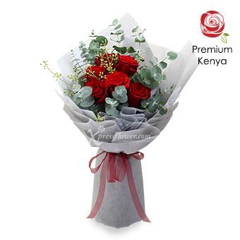 Blooming Love (6 stalks Premium Kenya Red Roses)
