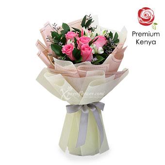 Impish Smiles (6 stalks Premium Kenya Pink Roses)