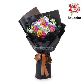 Heart Bandit (6 stalks Premium Ecuador Rainbow Roses)