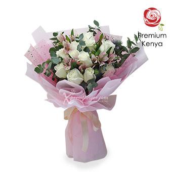 Glittering Dreams (12 stalks Premium Kenya White Roses)