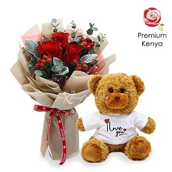 Love Embrace (3 stalks Premium Kenya Red Roses with Love You Bear)