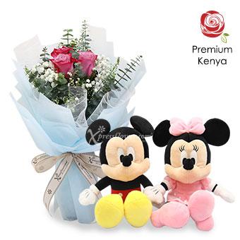 Plushy Ardor (3 stalks Premium Kenya Purple Roses with Disney Plush Toy)
