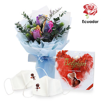 Candy Drops (3 stalks Premium Ecuador Rainbow Roses with Chocolate & Masks)