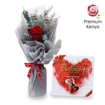 Silver Reverie (1 stalk Premium Kenya Red Rose with Chocolate)
